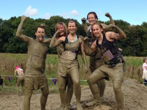 The guys caked in mud