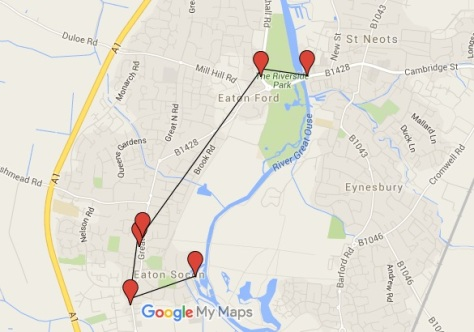 Map of Dog Friendly Pub Crawl in St Neots