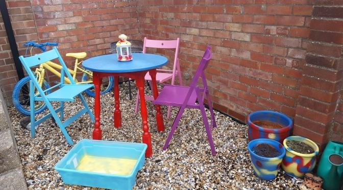 Colourful garden furniture