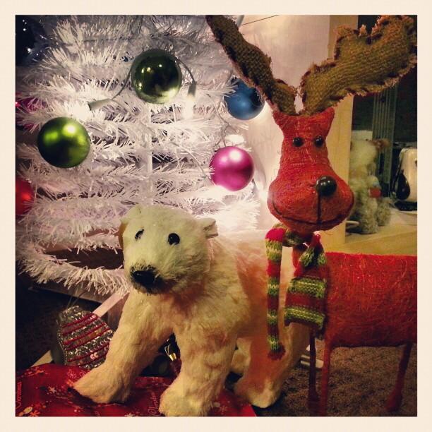 Christmas tree with a polar bear and reindeer