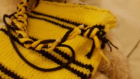 Damage to Hufflepuff bag strap after dog has chewed it
